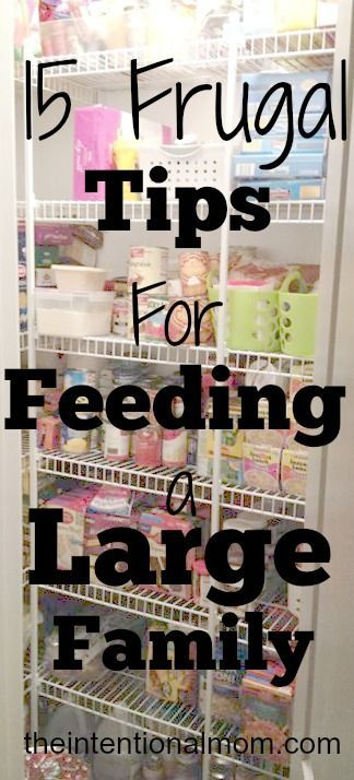 Feeding a large family certainly means you will need more food, but it does not mean it needs to break the bank. I have implemented some great money saving tips around my house. .... $250 a month on average. Here's some good tips!
