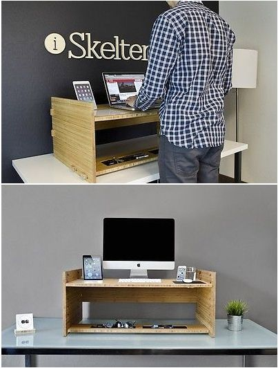 This portable accessory turns a regular desk into a standing one. So smart and health-conscious!
