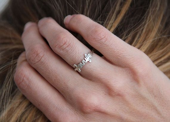 Name Ring, Silver name Ring, Jennifer Ring, Name Silver Band, Personalized Ring, Letter Ring, Bridesmaid Ring on Etsy, ¥6,276.60