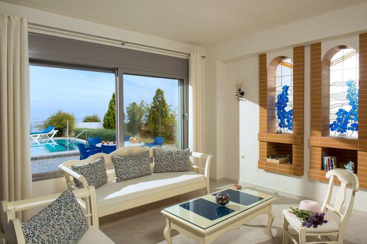 Blue modern luxurious villa with private pool, Koutouloufari | Cretico