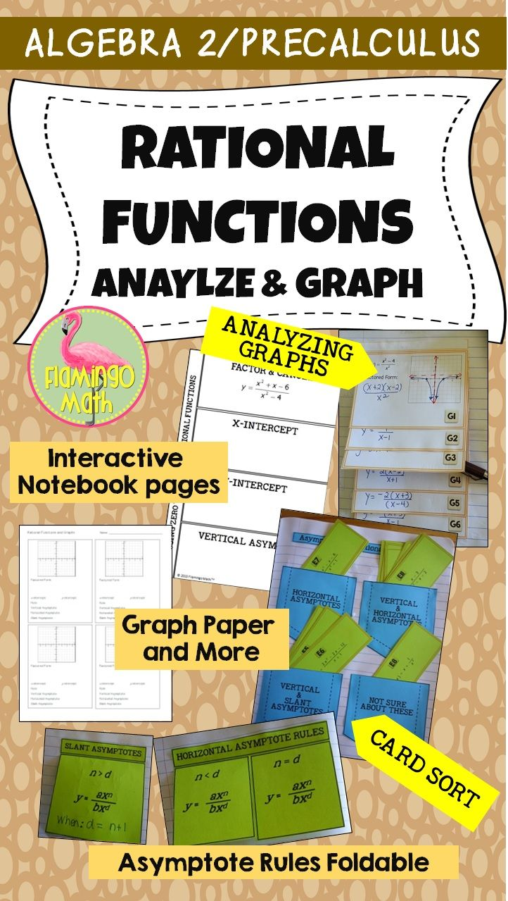So much for your PreCalculus students to explore. Discover a system for analyzing and graphing rational functions, Create a layered foldable with 6 graphs, make a card sort activity for understanding asymptotes, plus extra graph paper and a review assignment for comprehension.