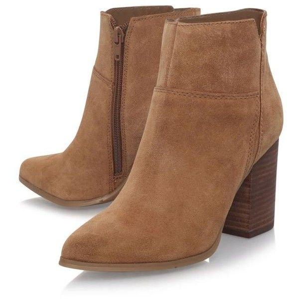 Nine West Brown 'Keke' high heel ankle boots (£95) ❤ liked on Polyvore featuring shoes, boots, ankle booties, booties, brown suede booties, nine west bootie, nine west boots, ankle boots and brown ankle boots