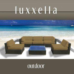 LOVE THEIR STUFF!!   Luxxella Outdoor Patio Couch Wicker Furniture 6pc All Weather Sofa Bella 6 Set DARK BEIGE
