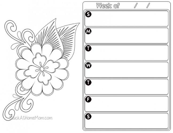 Calendar Planner Pages : Images about coloring pages on pinterest weekly