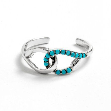 Simulated Turquoise Stones Open Design Ring Rhodium Plated Sterling Silver