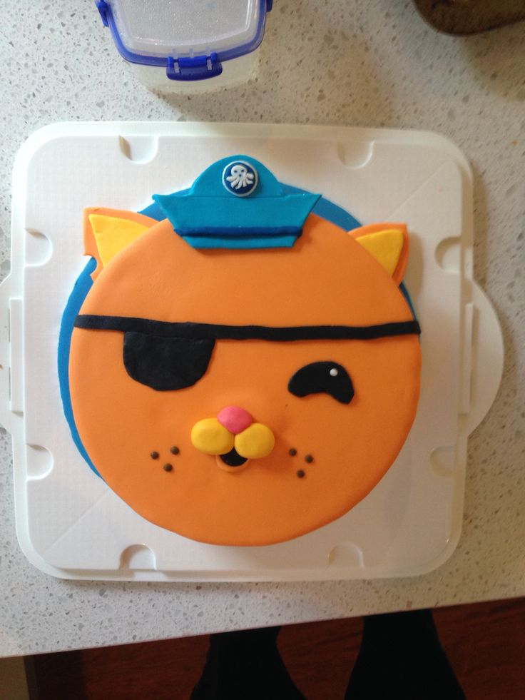 Octonauts Kwazi cake for my son's 3rd birthday. Mud cake filled with buttercream and covered in fondant.
