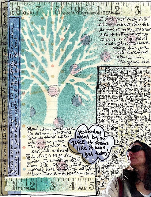 Place a stencil on the page and pain over it. Remove when paint is dry to get this negative image.Journals Inspiration, Alteredminismash Book, Art Journals, Journals Ideasl, Quick Art, Altered Minis Smash Book, Tape Measuring, Altered Book, Glenda Tkalac