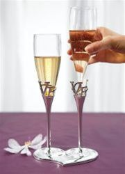 Silver Plated Love Stem Champagne Holder and Glass Wedding Flutes