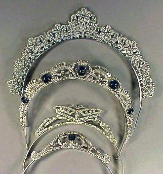 Art Deco Tiaras, including two sapphire and diamond tiaras (20th c.; sapphires, diamonds).