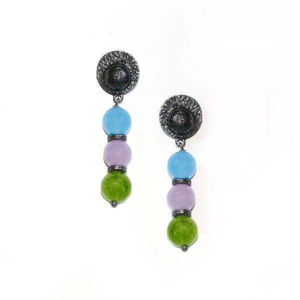 Pendientes Eclipse Tricolor.  Pendiente YOMIME en plata oxidada de primera ley y jades. Disponible en lila, azul y granate o lila, azul y verde.  http://yomime.es/shop/novedades/225-pendientes-eclipse-tricolor.html