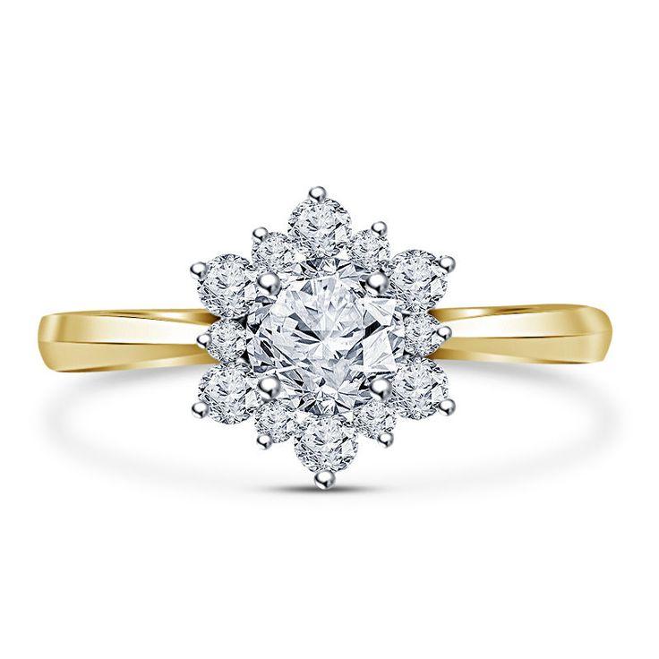14K Yellow Gold FN in 925 Silver Round Sim Diamond Flower Shape Engagement Ring #Affoin8 #FlowerShapeEngagementRing