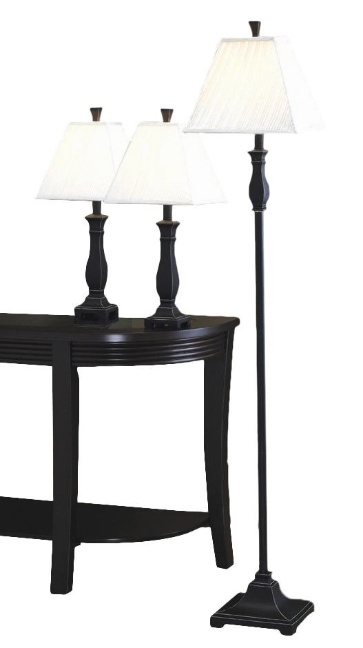 froste 3 piece table and floor lamp set