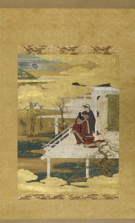 """Hanging scroll, ink color and gold leaf on paper, """"Scene from the Tale of Genji"""", 16th century. Japan"""
