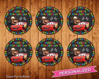 Disney coches Cupcake Toppers, Topper Cupcakes de Cars, Rayo McQueen para imprimir, personalizada, archivo Digital