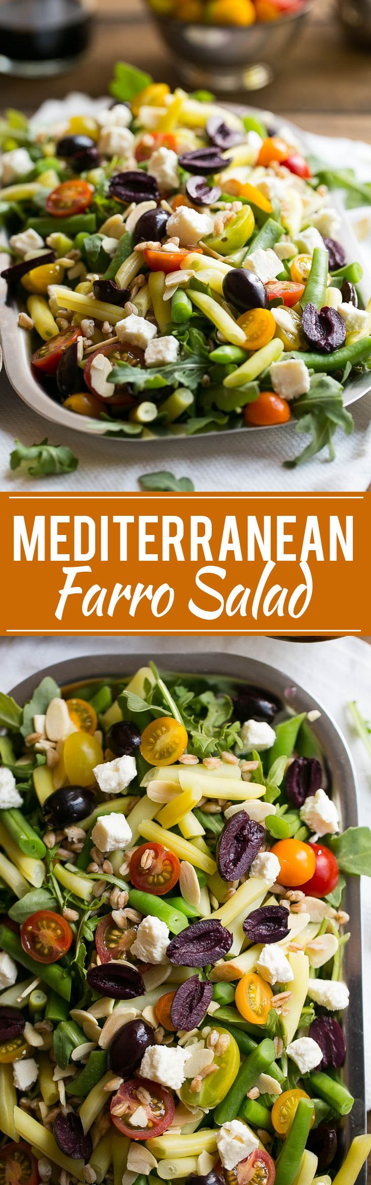 This recipe for mediterranean farro salad is a variety of fresh vegetables, farro grains, feta cheese, olives and almonds, all on a bed of arugula.