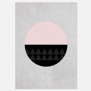 Circular Abstract Art for Kids - Pink and Black Circle with Grey Background
