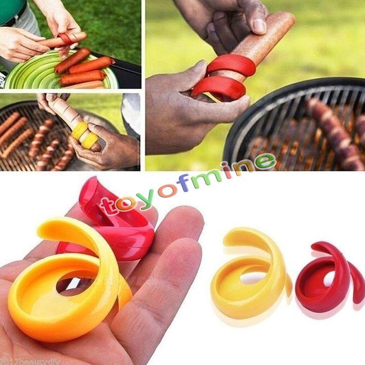 2pcs NEW Plastic Spiral Hot Dog Sausage Cutter Slicer Home Kitchen Cutting Tools #Unbranded