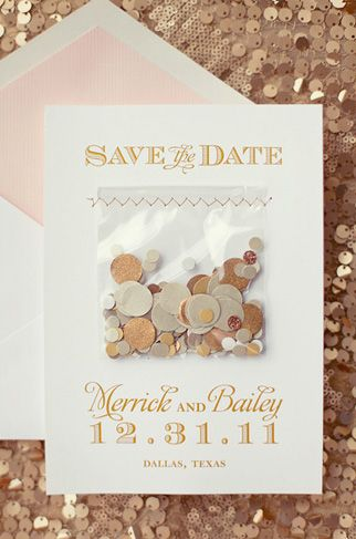 Confetti save the date for a New Year's Eve wedding