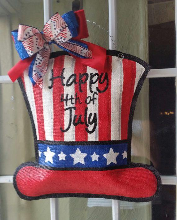 Happy 4th of July burlap door hanger, welcome sign. Patriotic door decoration.