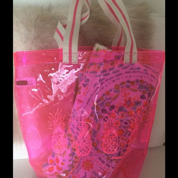 Neon pink pineapple tote bag Neon pink pineapple tot bag.  See through with canvas straps. American Eagle Outfitters Bags Totes