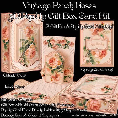 Vintage Peach Roses 3D Pop Up Gift Box Card Kit