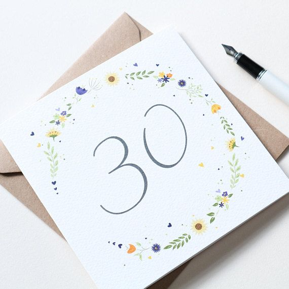 Beautiful Sunflower Floral 30th Birthday Card 30th Birthday Cards Birthday Card Design Birthday Cards