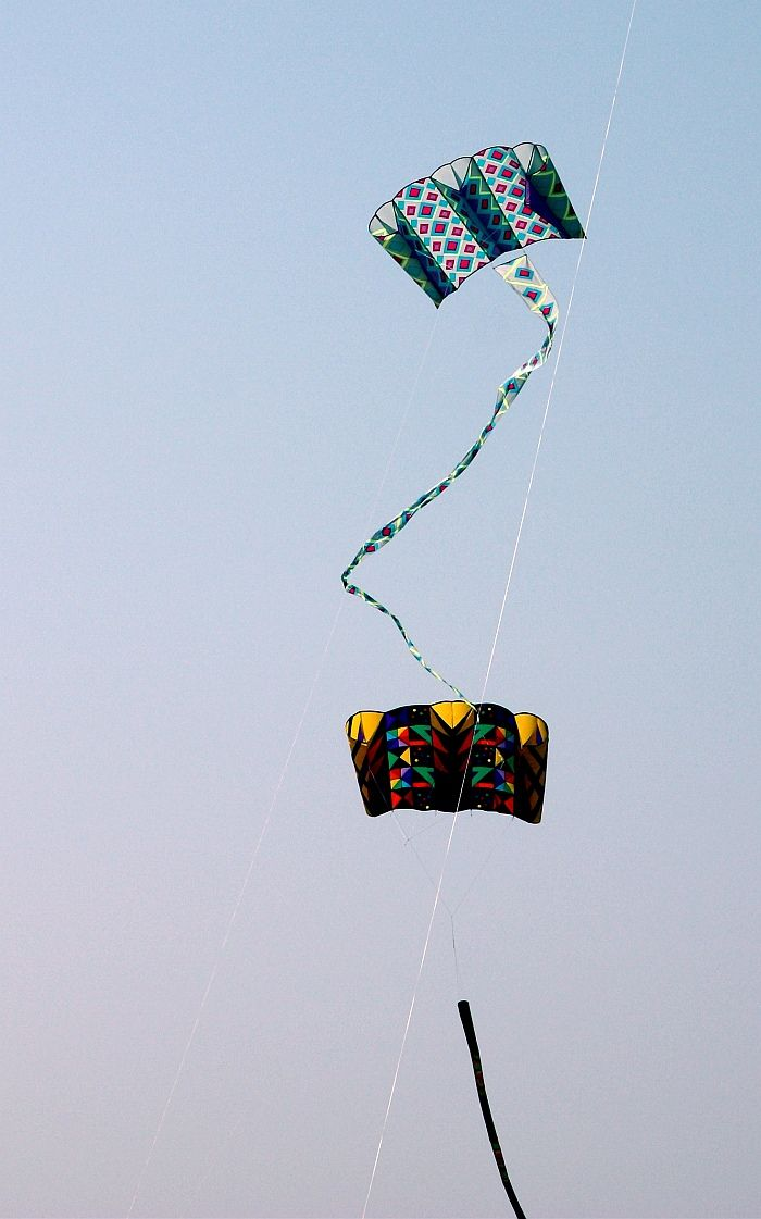 These two big Para-sled kites with their busy geometric patterns are just flying free. Parasleds pull like crazy though, so are often used to hoist 'line laundry'. T.P. (my-best-kite.com) Cropped from a photo posted by Lester Public Library on Flkr.