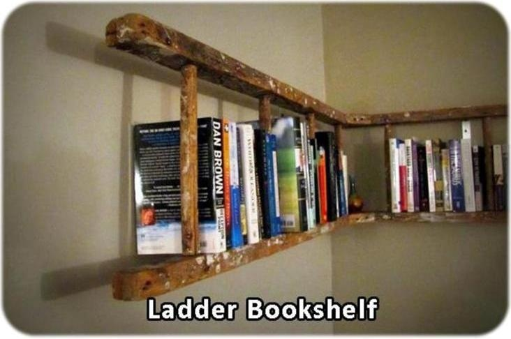 Great Ladder Book Shelf/Rack, You can also hang one on the ceiling in the laundry room for a clothes rack!