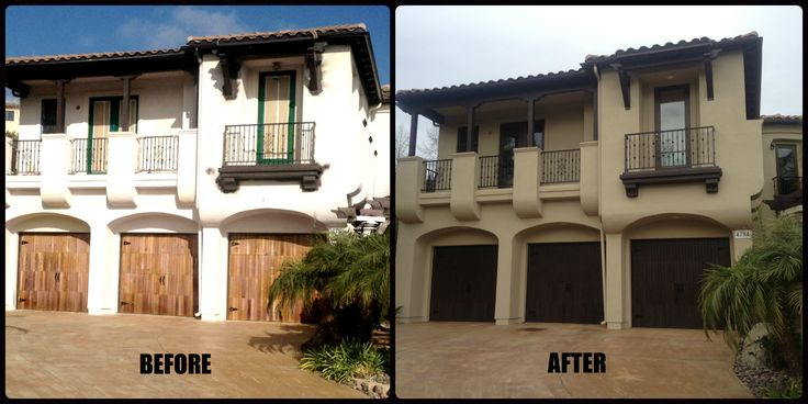 Del mar exterior painting before and after by maverick painting san diego garage doors www for Exterior house paint before and after