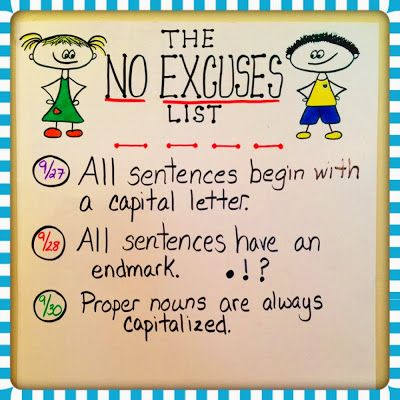"""No Excuses List"" ~ A list of things there is no excuse to submit work without. Could be adapted for any grade level. (Free idea ~ I'm going to introduce this Monday!)"