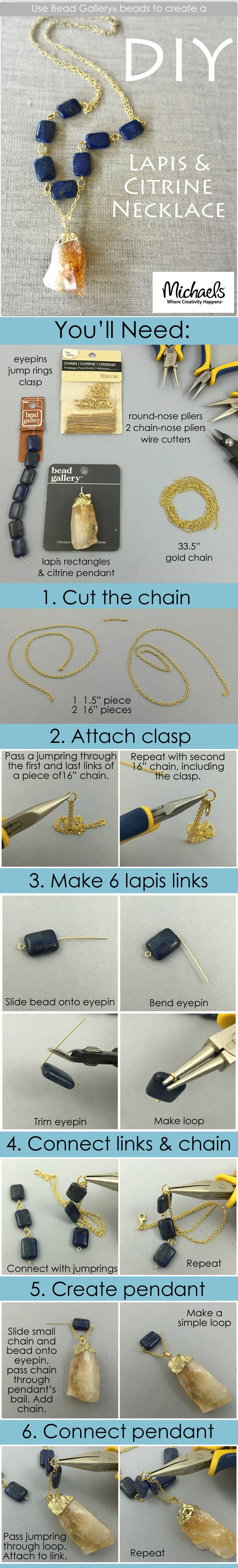 Use Bead Gallery beads available at your local Michaels Store to create this DIY Lapis & Citrine Necklace