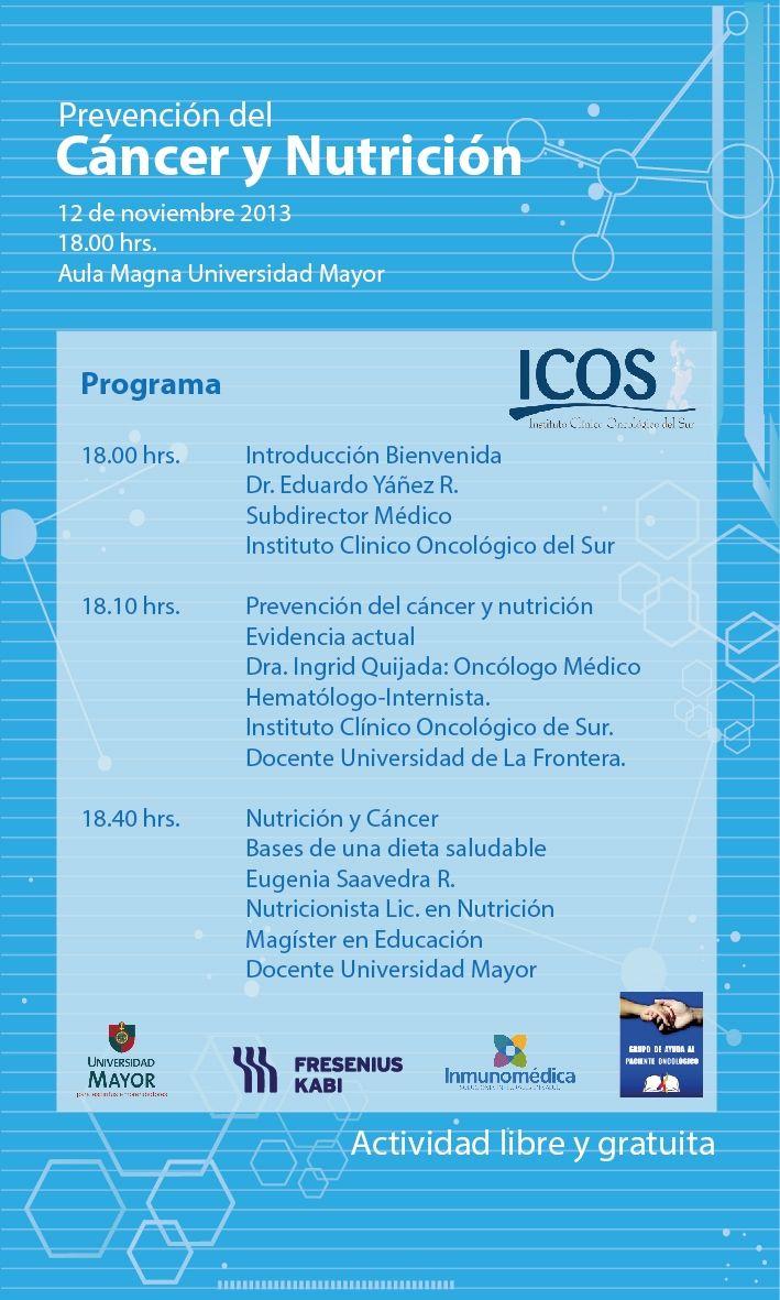 ¿Quieres saber más a cerca de la Prevención del Cancer? Entonces si estudias en #UMayor #Temuco esta charla es para ti. MAÑANA, Gratis y abierta a todos los estudiantes. #Cancer #medicina #salud