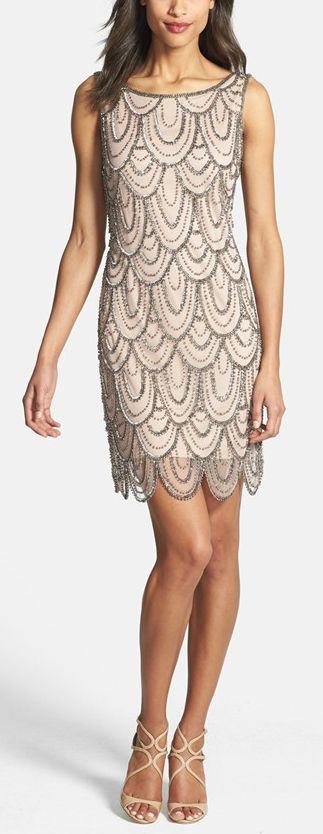 Embellished Mesh Cocktail Dress