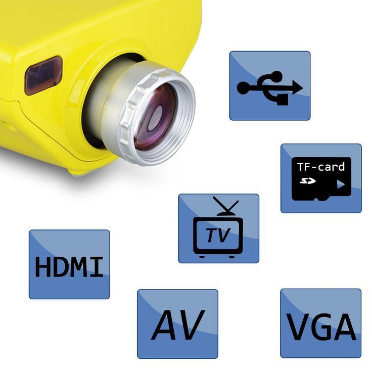 Amazon.es: Excelvan E03 - Mini Proyector Portátil 50 Lumenes (16W, Pantalla Led Lcd, Vga Hdmi Usb Atv, TF Tarjeta 320 x 240, 1080P, Enfoque Manual, para Casa Cine Teatro), Amarillo - Electrónica
