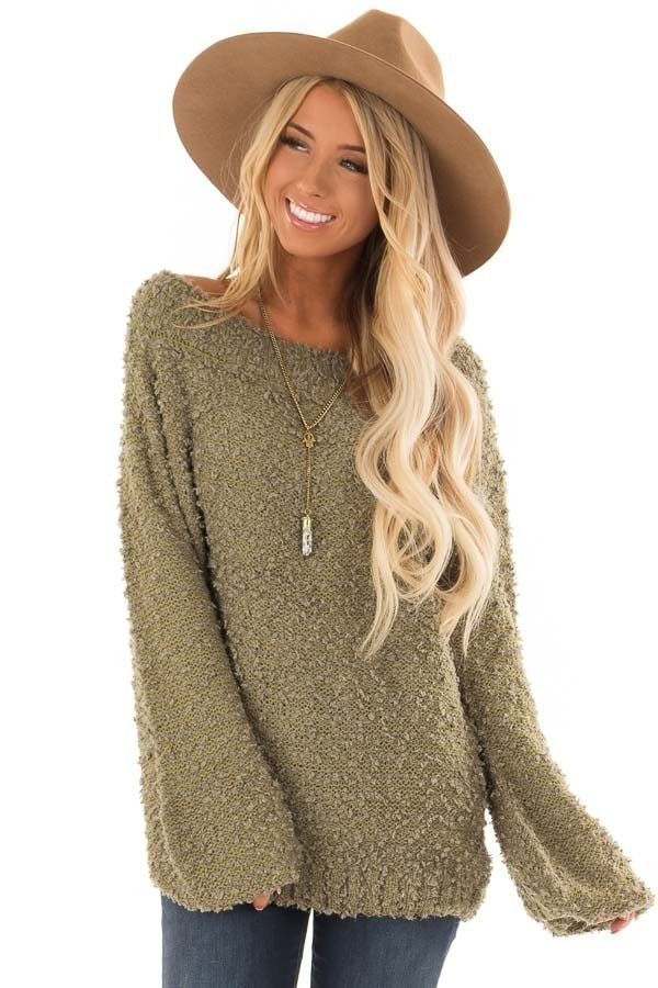 816e96d4eb478 Olive Green Off the Shoulder Balloon Sleeve Sweater front close up ...