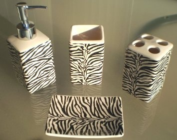 Amazon.com: Zebra Print Ceramic Bathroom Set 4 Pieces Animal Print Bath  Decor: