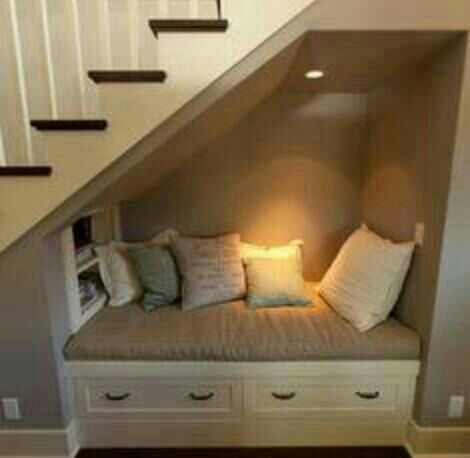 Love idea of making under the stairs somewhere you'd like to go rather than dumping ground! Reading nook