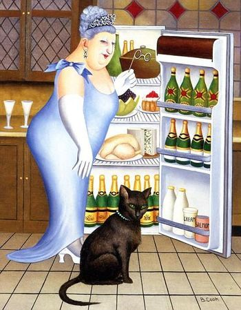 [Percy at the Fridge Beryl Cook]