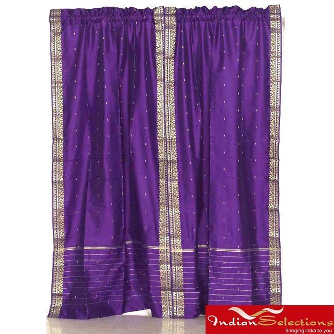 Sheer Sari 84-inch Rod Pocket Curtain Panel Pair, Handmade in India