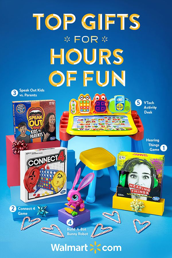 There's still time to shop great games and more at Walmart. Your next family game night will be one to remember with these fun-filled and amusing games. Shop now for night after night of family fun.    Top Gifts for Game Night include: Hearing Things Game, Payday Game, Speak Out Kids vs. Parents, Build-A-Bot Bunny Robot, VTech Activity Desk