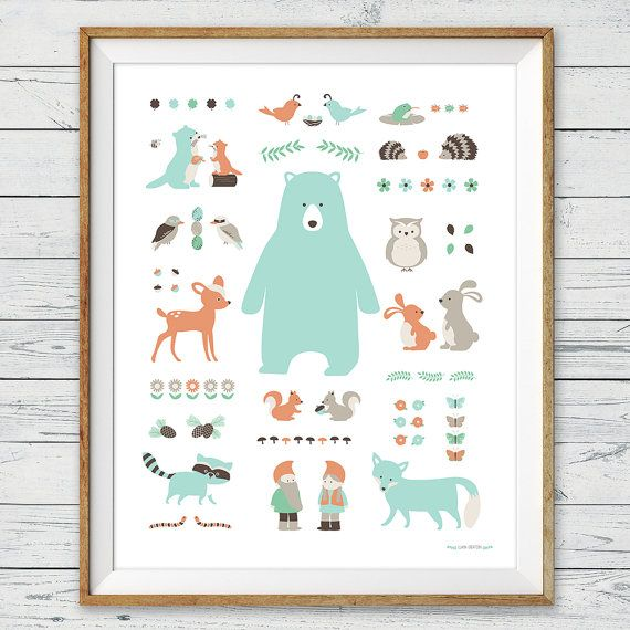 Woodland Animal Poster Wall Art Instant, woodland animals, Woodland theme Wall Art, woodland nursery, woodland playroom, playroom decor, alphabet poster, number poster, modern kids room, illustration art, nursery ideas, nursery decor, nursery art, woodland baby shower, woodland room, kids room, by LlamaCreation