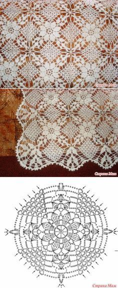 Crochet lace tablecloth square with flower and diamonds motif. Many beautiful filet crochet valances, curtains, doilies etc. in this page