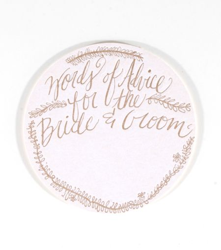 "This set features 10 original illustration letterpress coasters.  Each one reads ""words of advice for the bride & groom"" with space to write-in your wor"