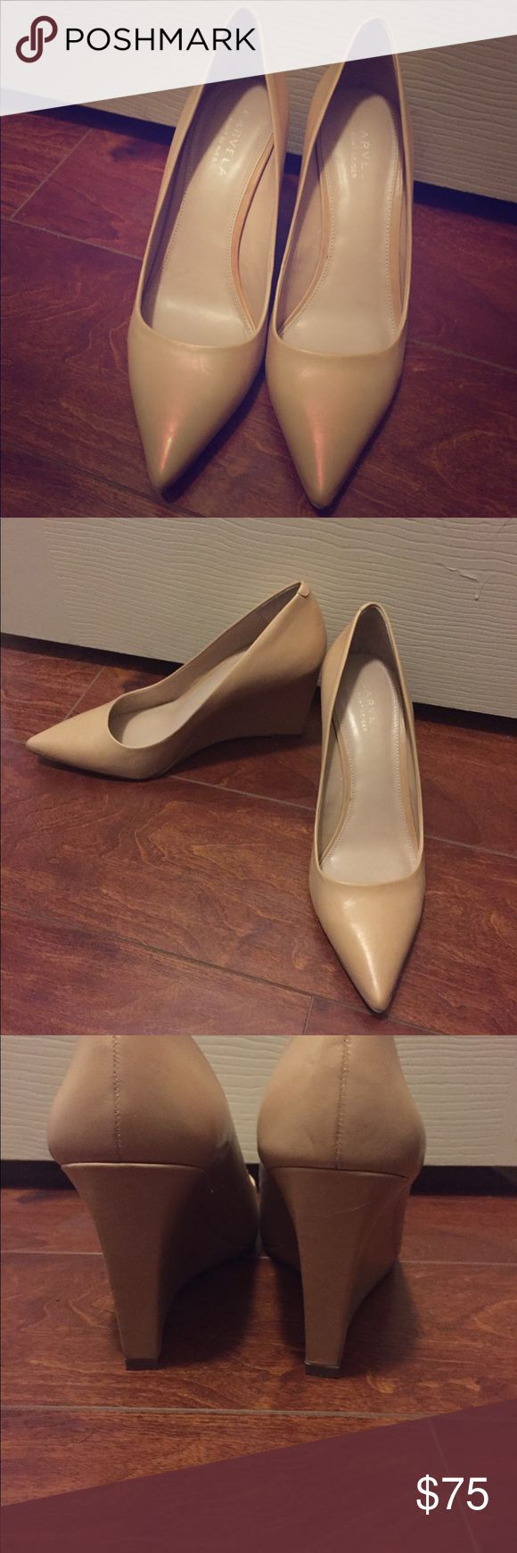 """Fabulous Nude Shoes Size 38 Pointy Wedge Beautiful nude (cream/tan, not rosey) Size 8 US. Fits like a size 7.5 (marked size 38) Heel is 3.5"""" tall Very good used condition. Clean. Light signs of use. Carvela Shoes Wedges"""
