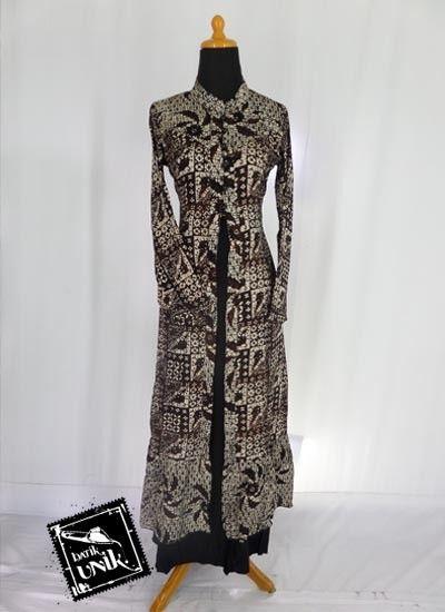 Baju Batik Gamis Pesta 2 Pieces Katun Twill Motif Sogan