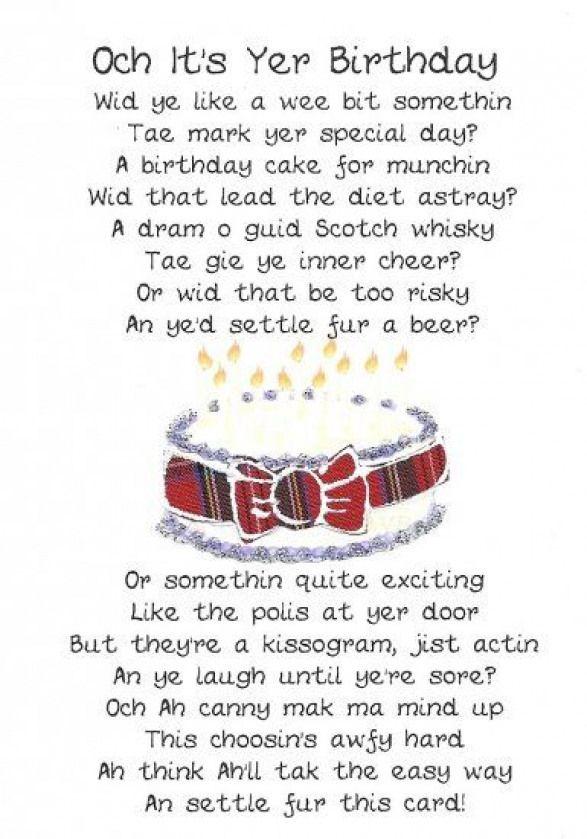 Scottish Birthday Card Cake Poem Click Image To Close
