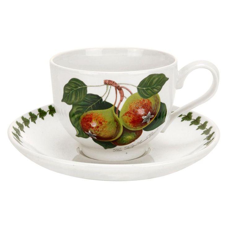 Portmeirion Pomona Classics Traditional Teacup and Saucer - Set of 6 - 49820