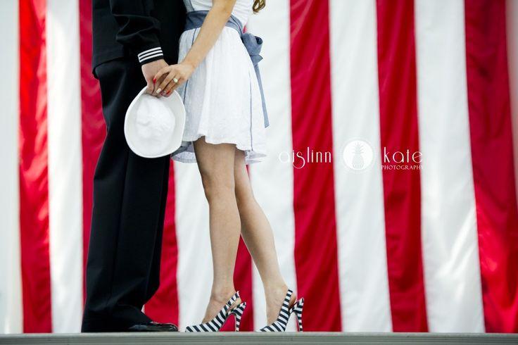 Engagement portraits     Military     Navy     American flag     Patriotic photos     Aislinn Kate Photography     Pensacola Photographer