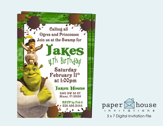 Shrek Birthday Invitation 5 X 7 Digital by PaperHouseInvitation