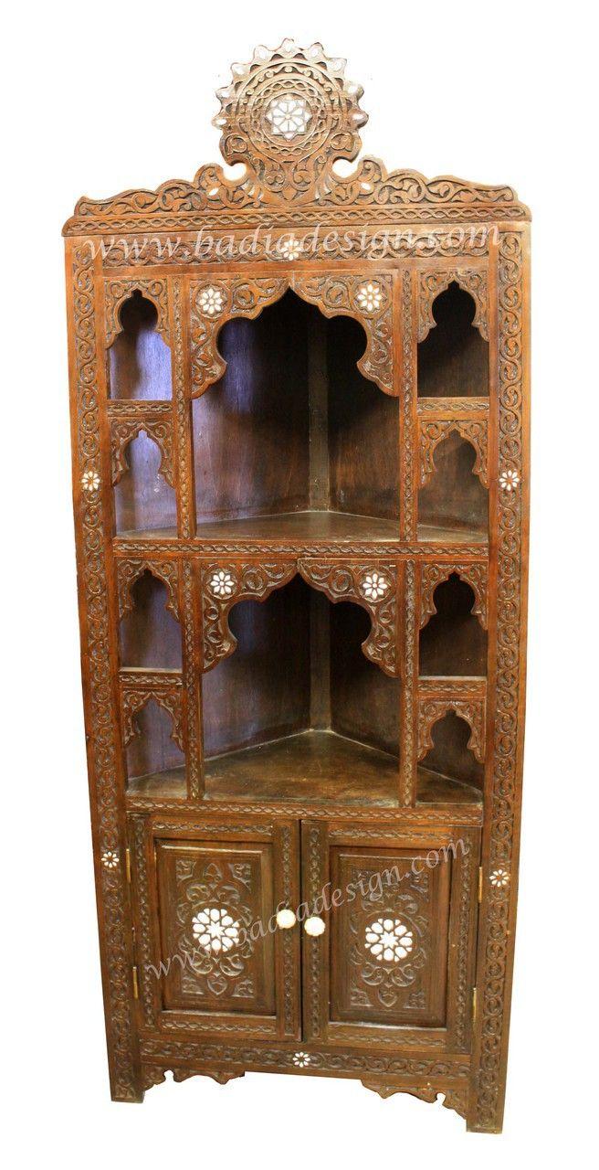 Attractive Carved Wood Bone Inlay Corner Bookshelf   CW CA024. Corner BookshelvesMoroccan  FurnitureCarved WoodExoticBonesLos Angeles